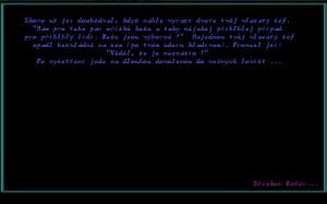 úvodní obrazovka s intro textem ke hře Black Hovno